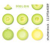 set of melons in paper art... | Shutterstock .eps vector #1119564089