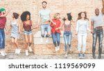 happy millennials friends... | Shutterstock . vector #1119569099