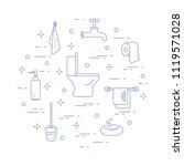 toilet bowl  toilet paper  soap ... | Shutterstock .eps vector #1119571028