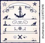 collection of various nautical  design elements
