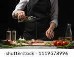chef pouring olive oil  three... | Shutterstock . vector #1119578996
