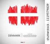 flag of denmark with brush... | Shutterstock .eps vector #1119579839