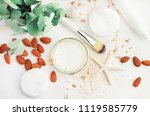 top view white cosmetic product ...   Shutterstock . vector #1119585779