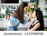 make up artist doing... | Shutterstock . vector #1119588908