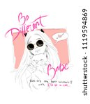 cute pattern with slogans  girl ... | Shutterstock .eps vector #1119594869