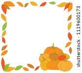 Set Of Pumpkins With Autumn...