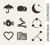 set of 9 shapes filled icons... | Shutterstock .eps vector #1119633323