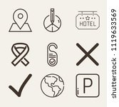 set of 9 signs outline icons... | Shutterstock .eps vector #1119633569