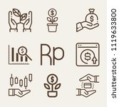 set of 9 money outline icons... | Shutterstock .eps vector #1119633800