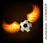 soccer ball with burning wings. | Shutterstock . vector #1119634529