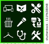 set of 9 tools filled icons... | Shutterstock .eps vector #1119638048