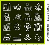 set of 16 nature outline icons... | Shutterstock .eps vector #1119642536