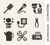 set of 9 tools filled icons... | Shutterstock .eps vector #1119645086