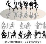 vector silhouettes of dancing... | Shutterstock .eps vector #111964994