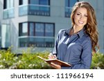 beautiful business woman on the ... | Shutterstock . vector #111966194