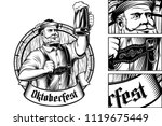 oktoberfest man holds a glass... | Shutterstock .eps vector #1119675449