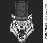 wolf  dog. top hat  cylinder.... | Shutterstock .eps vector #1119677246