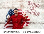 happy 4th of july card. man is... | Shutterstock . vector #1119678800