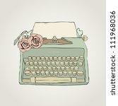 Vector Retro Typewriter With...