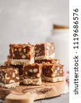 raw vegan dessert with nuts and ... | Shutterstock . vector #1119686576