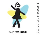 girl walking icon vector... | Shutterstock .eps vector #1119686714