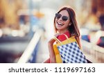 woman in shopping. happy woman... | Shutterstock . vector #1119697163