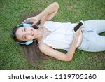 flat lay or top view portrait... | Shutterstock . vector #1119705260