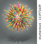 hedgehog out of pencils  3d... | Shutterstock . vector #111971639