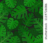 palm leaves background. aloha... | Shutterstock .eps vector #1119726086
