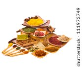 different colored ground spices ... | Shutterstock . vector #111972749