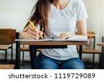 front view hand high school or...   Shutterstock . vector #1119729089