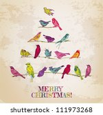 retro card. birds on christmas...