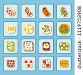 breakfast toast set slices...   Shutterstock .eps vector #1119753908