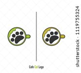 coffee cup with cat logo modern ... | Shutterstock .eps vector #1119755324