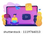 a man sitting on a big laptop... | Shutterstock .eps vector #1119766013