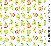 cute pear pattern. seamless... | Shutterstock .eps vector #1119769748
