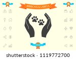 shelter pets sign icon. hands... | Shutterstock .eps vector #1119772700