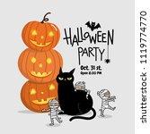 happy halloween party... | Shutterstock .eps vector #1119774770