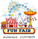 a fun fair and rides... | Shutterstock .eps vector #1119778529