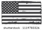 black and white usa flag.vector ... | Shutterstock .eps vector #1119783326