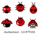ladybugs and beetles icons or... | Shutterstock .eps vector #111979103