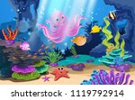 beautiful coral reefs and fish... | Shutterstock .eps vector #1119792914