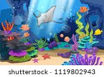 beautiful coral reefs and fish... | Shutterstock .eps vector #1119802943