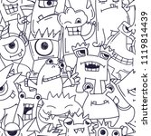 abstract doodle monster pattern.... | Shutterstock .eps vector #1119814439