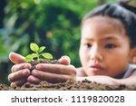 children hand holding small... | Shutterstock . vector #1119820028