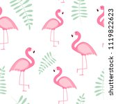 cute seamless flamingo pattern... | Shutterstock .eps vector #1119822623
