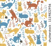 Stock vector colorful seamless pattern with cats and leaves 1119822956