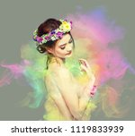 the lady of flowers is half... | Shutterstock . vector #1119833939