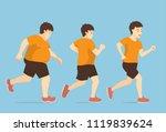 fat man jogging to slim shape... | Shutterstock .eps vector #1119839624