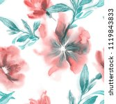 watercolor flowers seamless... | Shutterstock . vector #1119843833